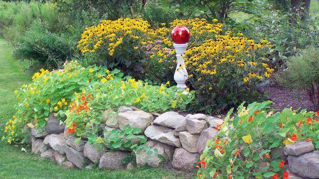 Ярко-жёлтые цветы в рокарии