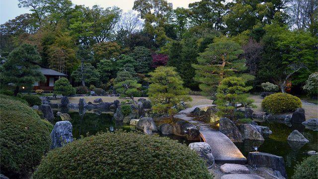 Сад камней с искусственным прудом и соснами