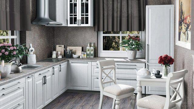 Белая кухонная мебель в интерьере цвета мокко
