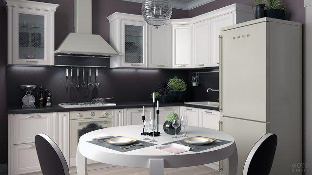 Чёрно-белый интерьер небольшой стильной кухни