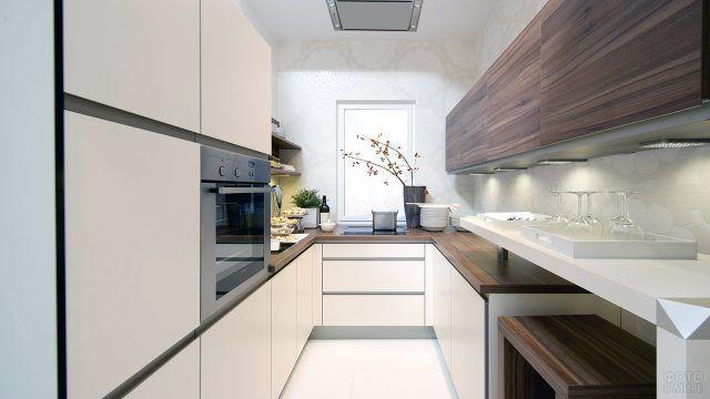 Интерьер узкой кухни в японском минималистичном стиле
