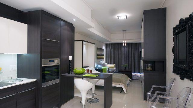 Кухня цвета венге в небольшой квартире-студии