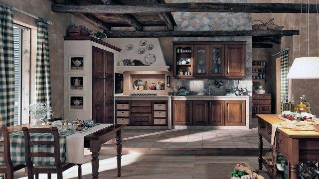 Сельский интерьер просторной кухни-столовой