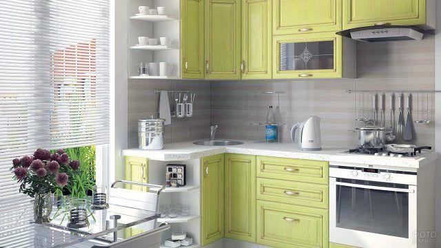 Современный кухонный гарнитур фисташкового цвета