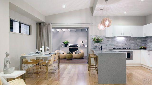 Тёплые оттенки светлой кухни-столовой в стиле контемпорари