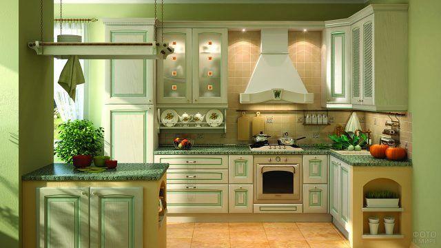 Зелёные оттенки в современной кухне
