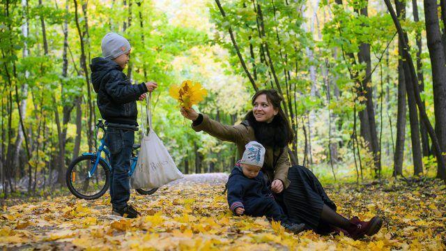 Мама с сыновьями в осеннем парке
