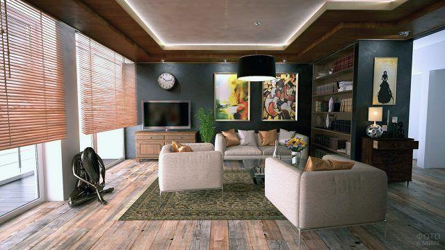 Подсолнухи в стильном интерьере гостиной