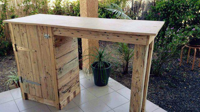 Паллетный барный стол с тумбой