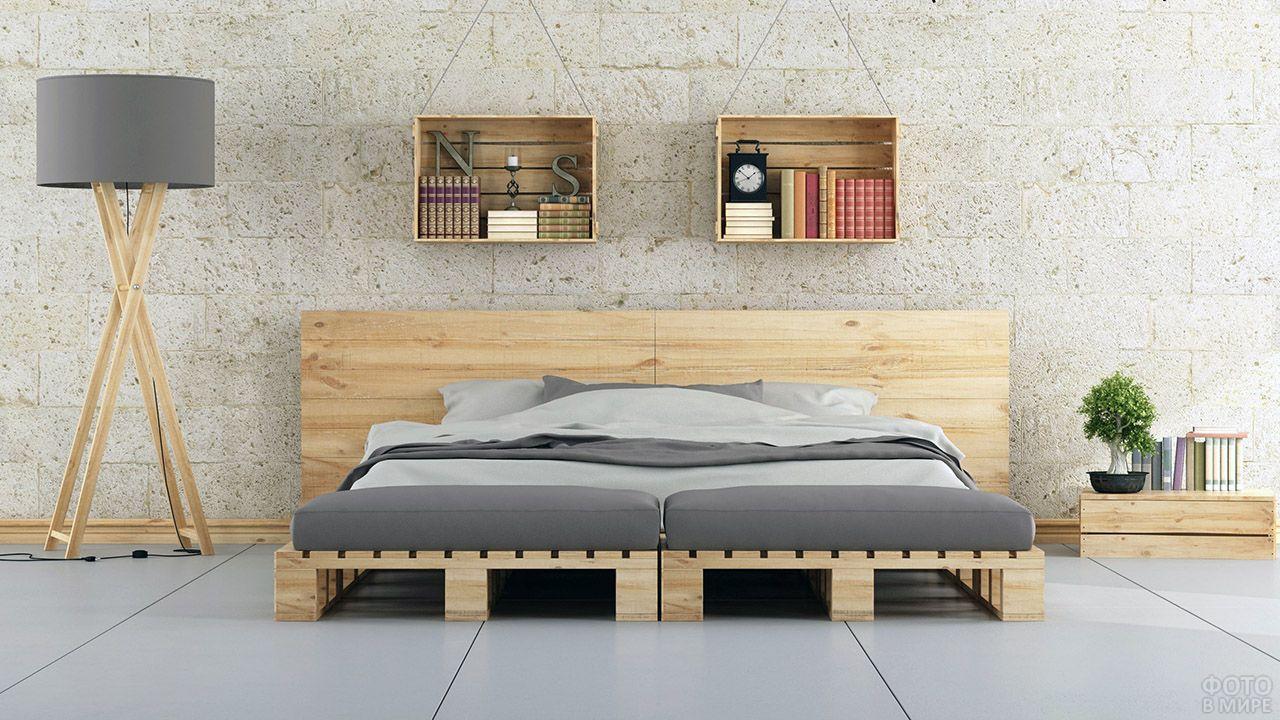 Спальня в стиле лофт с паллетной мебелью