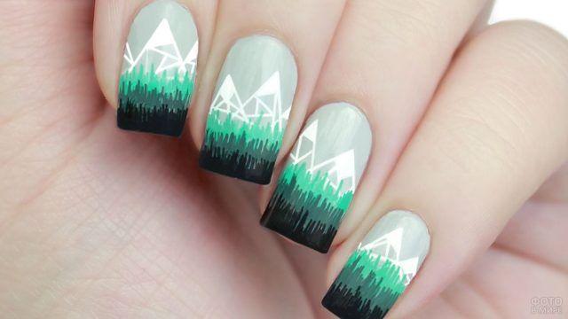 Роспись ногтей стилизованными картинками в несколько цветов