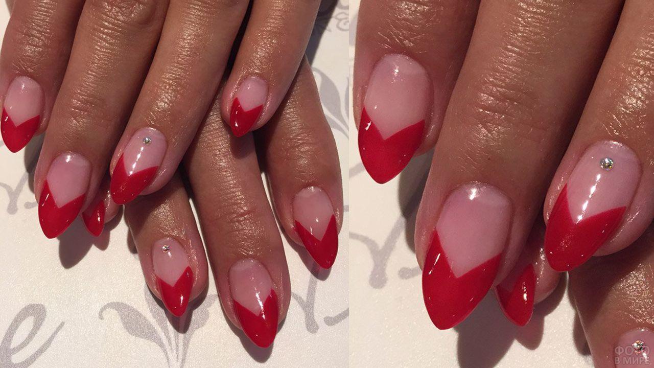 Стильный красный френч на накладных ногтях