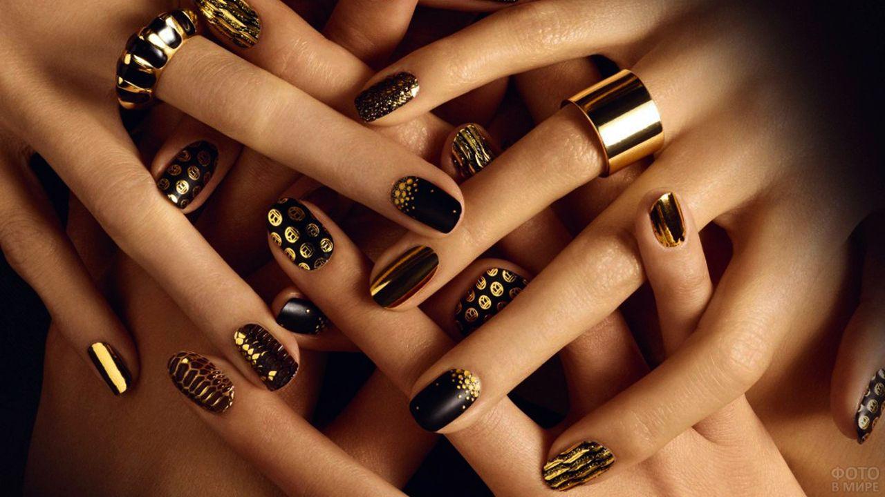 Вечерний чёрно-золотой маникюр с эффектом металлик