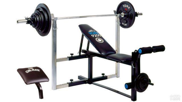 Фитнесс-скамейка для занятий тяжёлой атлетикой