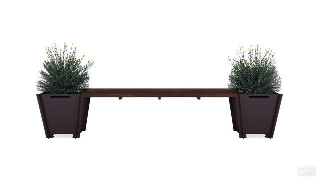 Скамейка с тумбами-ящиками для растений