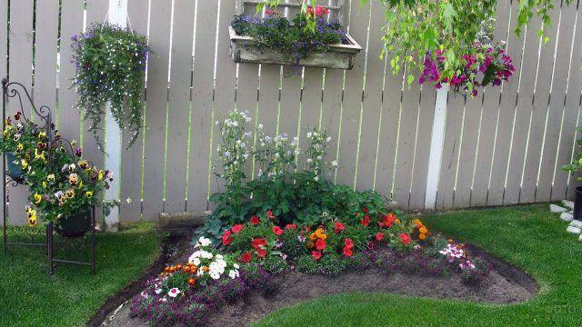 Оригинальное украшение цветами дачного участка с белым дощатым забором