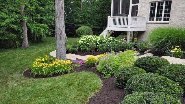 Задний двор загородного дома с цветущими клумбами и декоративным кустарником под деревьями