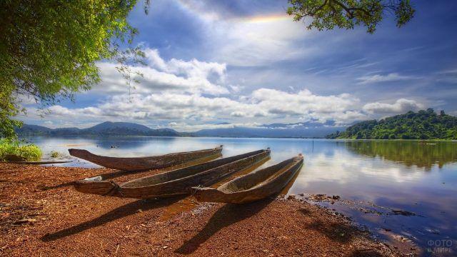 Деревянные лодки долбленки на берегу реки