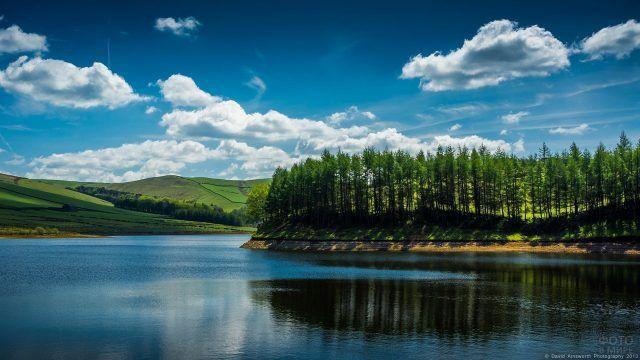 Голубое небо и зеленые берега реки