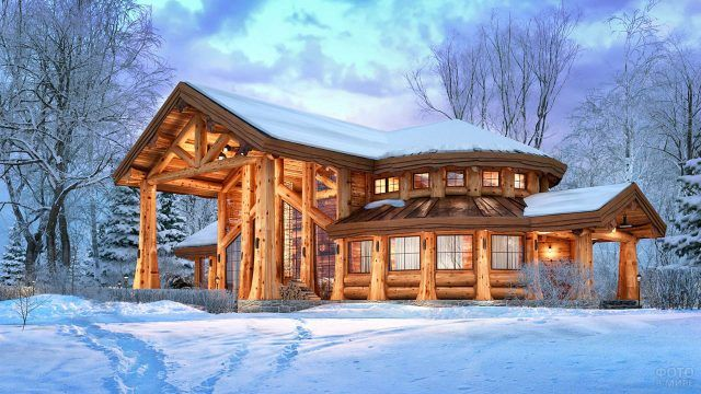 Купольный бревенчаты дом в вечернем зимнем лесу