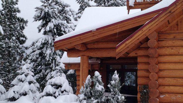 Снежная зима у порога скандинавского бревенчатого дома