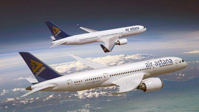 Два Казахстанских самолёта летят параллельным курсом