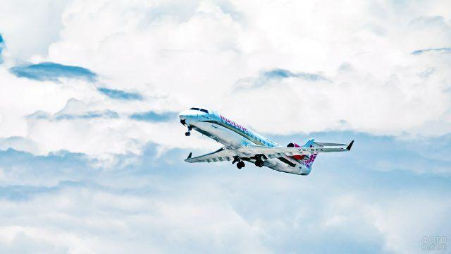Яркая раскраска самолёта в облаках