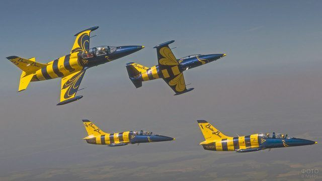 Пилотажная группа с ярким оперением в небе