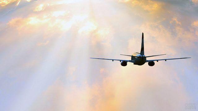 Силуэт летящего самолёта на фоне пробивающихся лучей солнца