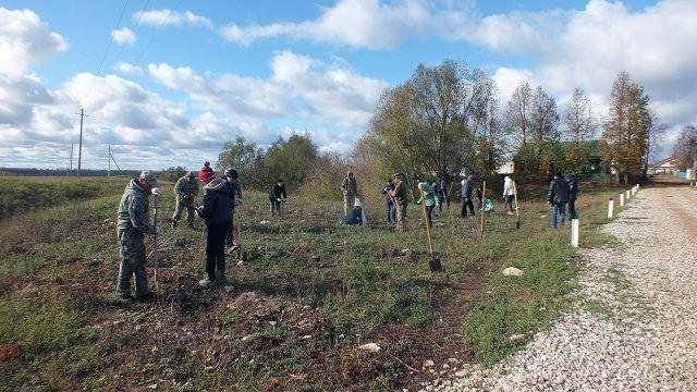 Ученики и учителя школы в Единый день посадки деревьев