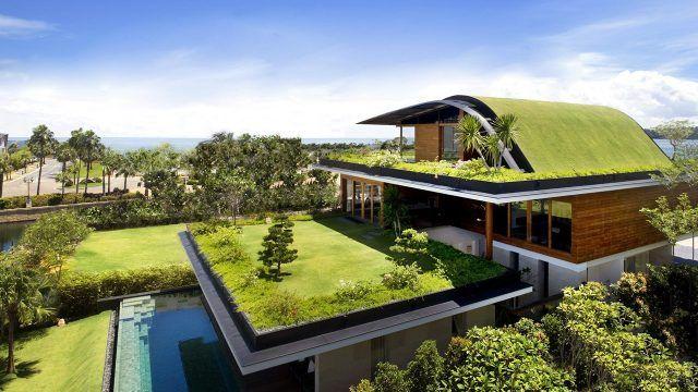 Необыкновенная крыша-газон загородного эко-дома