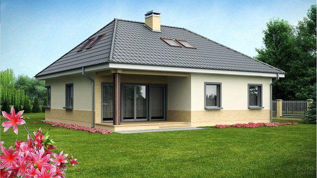 Вальмовая крыша с мансардными окнами