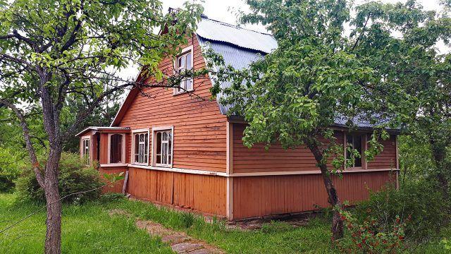 Деревянная дача на участке с плодовыми деревьями
