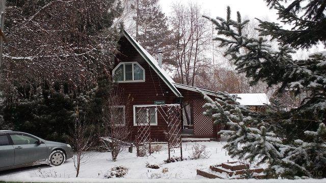 Деревянная дача с крыльцом под деревьями зимой
