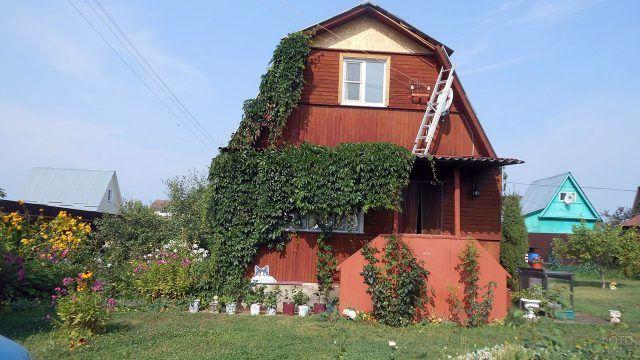 Деревянная дача с мансардой и крыльцом увитыми плющом