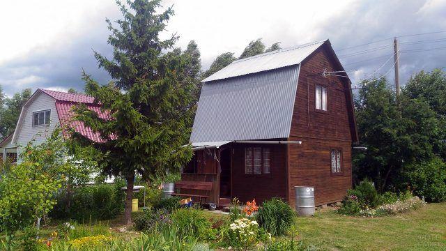 Деревянная дача с высокой мансардой и елью у крыльца