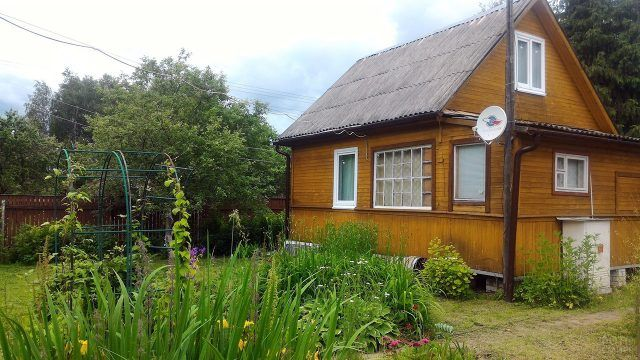 Деревянная дача с зелёным садом