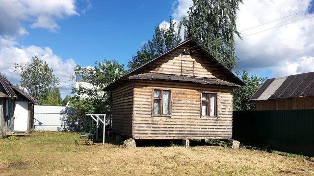 Деревянный дачный дом в углу участка с деревьями