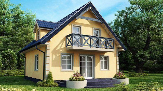 Просторный дачный дом с балконом и клумбами на полукруглом крыльце