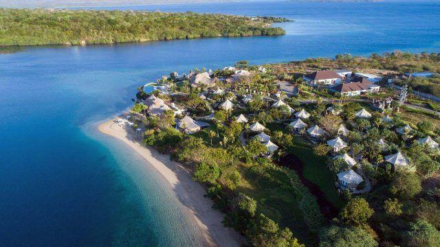 Отель на острове Менджанган на Бали с высоты птичьего полёта