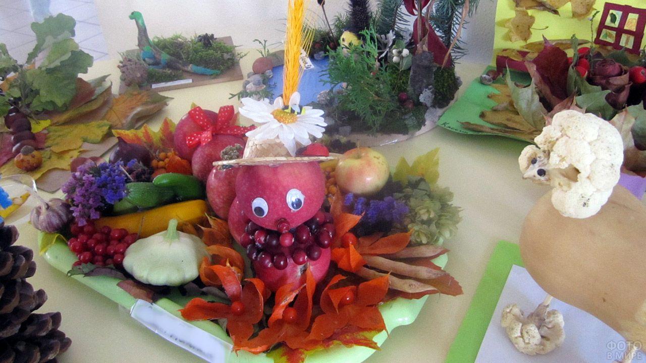 Осенняя поделка из овощей на школьном конкурсе