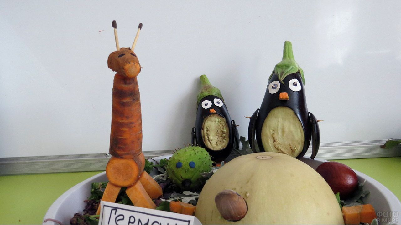 Пингвины из баклажанов и жираф из моркови