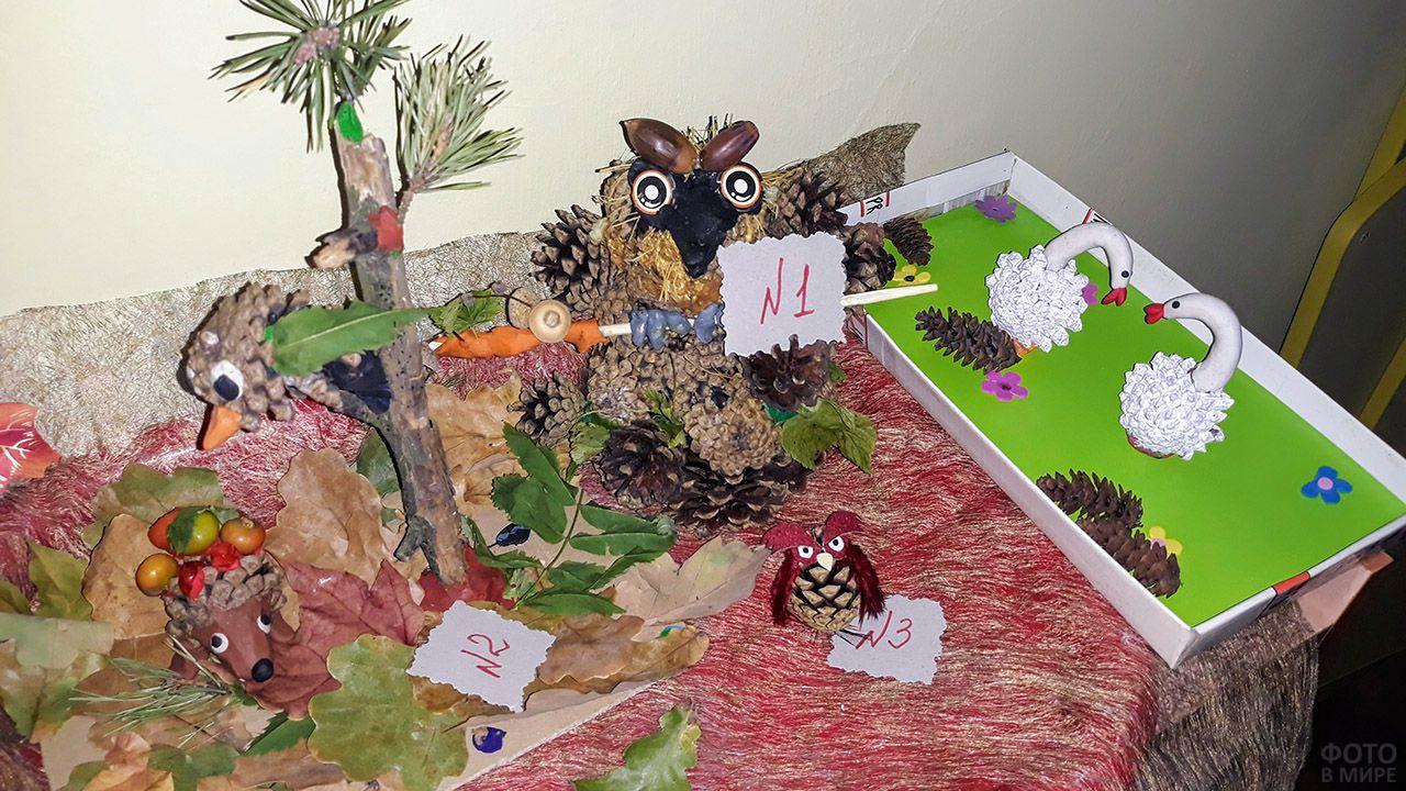 Поделки из шишек на выставке в детском саду