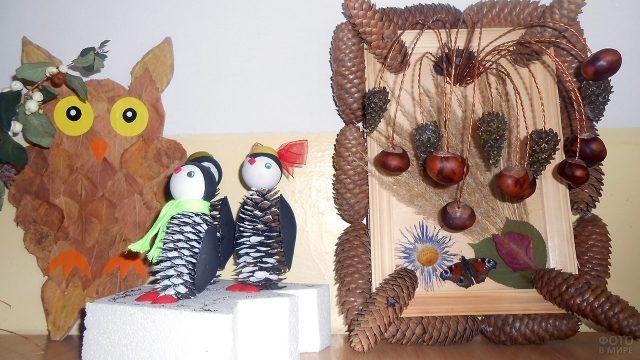 Птички из шишек и панно с каштанами на школьной выставке