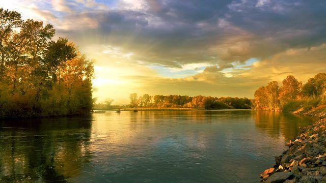 Осенний лес на берегах озера в лучах заката