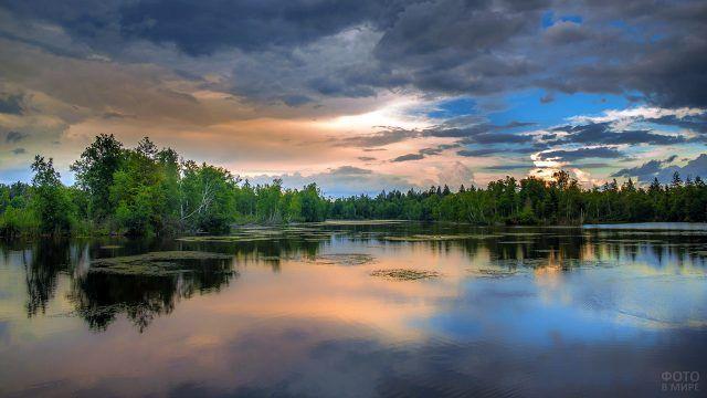 Рассветное летнее небо над лесным озером