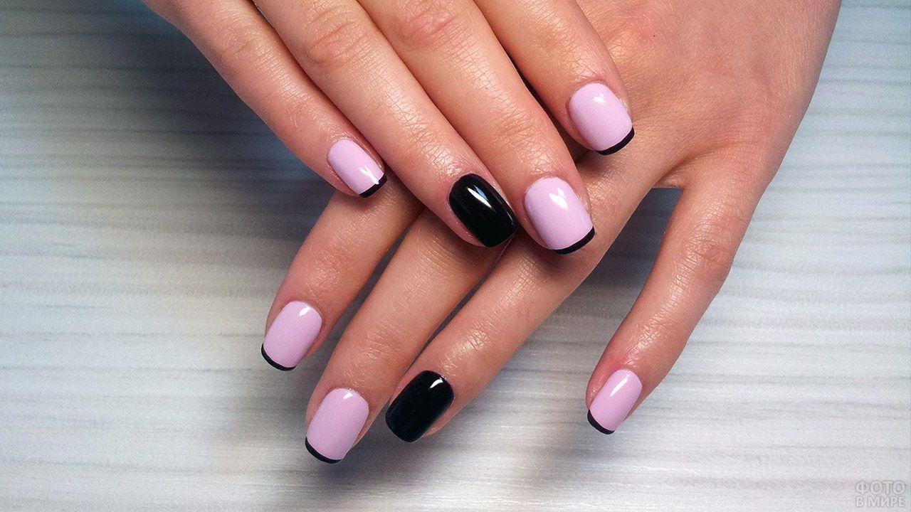 Розово-чёрный френч