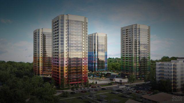 Фасады современных многоэтажных домов в Сургуте