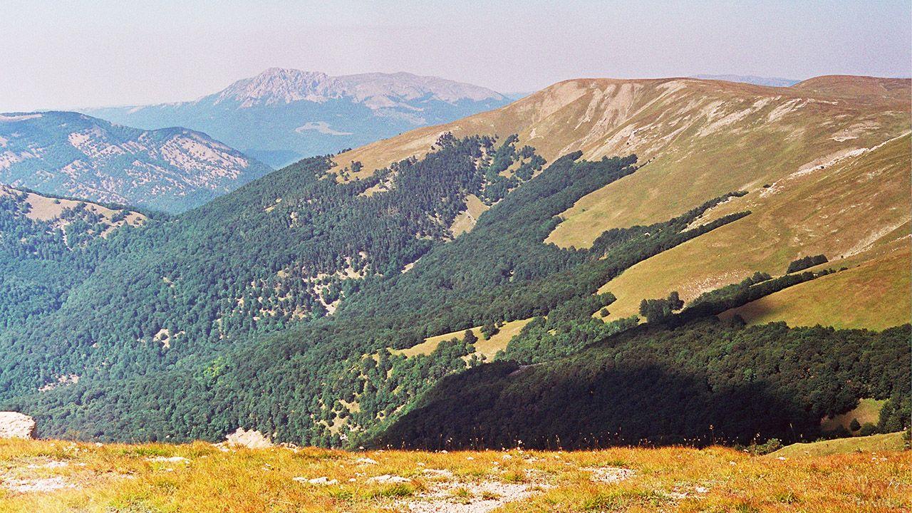 Зелёные склоны вершины Роман-Кош в Крыму