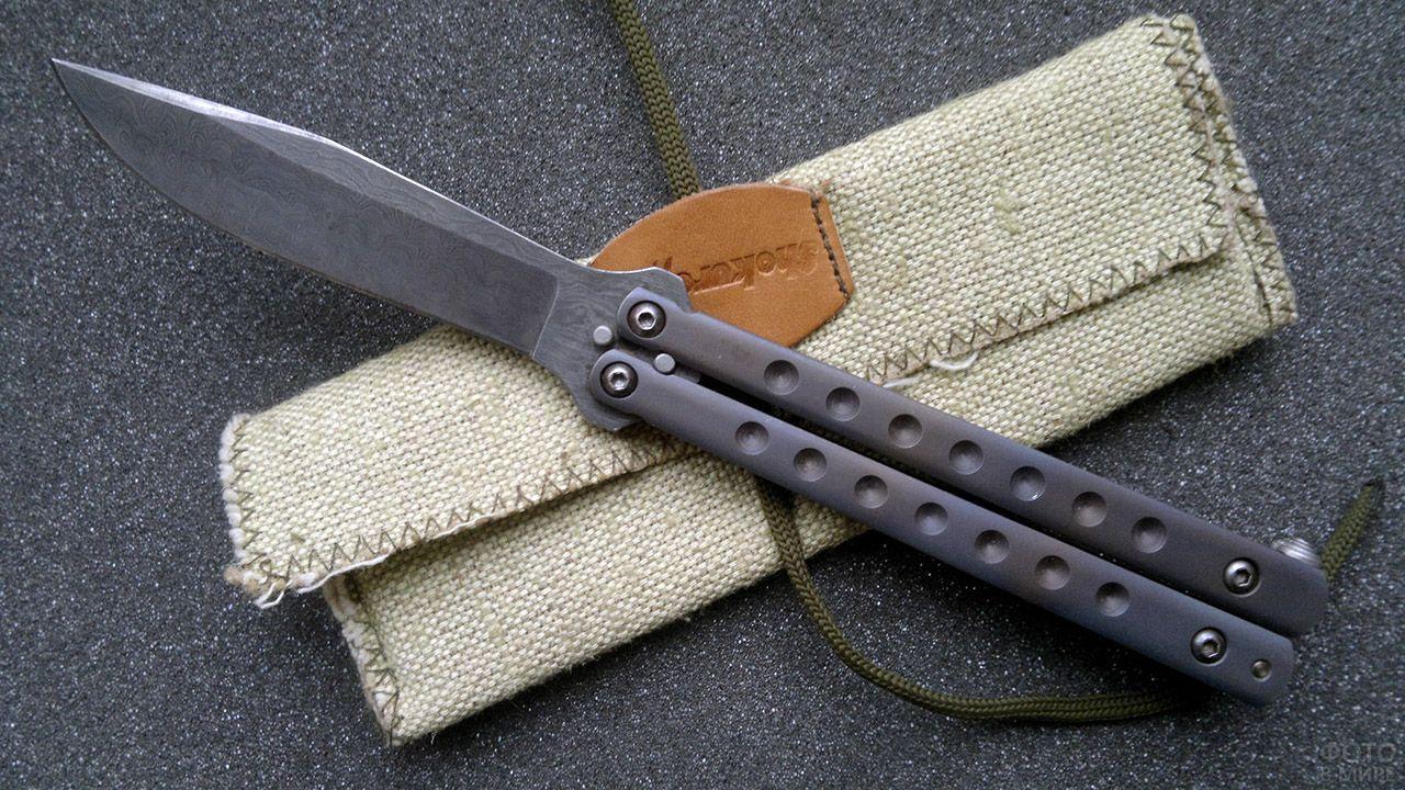 Инерционный складной нож-бабочка с брезентовым чехлом
